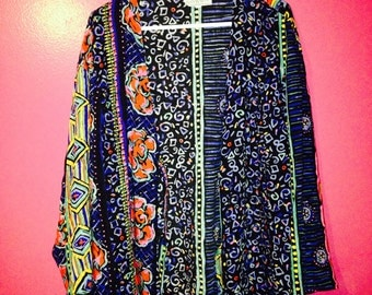 Vintage 80s Colorful Printed Cardigan