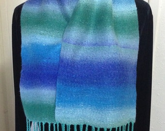 Blue & Green Handwoven Wide Scarf