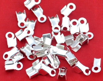 3x8mm Crimp End Fastener Clip -200pcs Silver plated Clasp Clips Wholesale Jewelry Findings---G1256-1