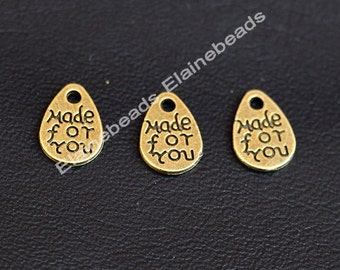 50pcs Small Made for You Charms,Antique Bronze teardrop Made for You Tag Charm Pendants 8x11mm