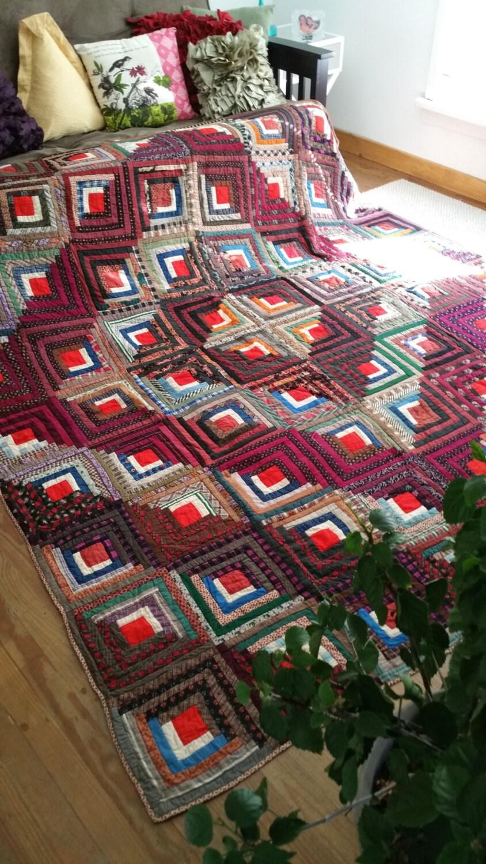 Barn Raising Quilt Pattern Free Knitting : Log cabin quilt-Vintage 1800 s Log Cabin Quilt/Barn