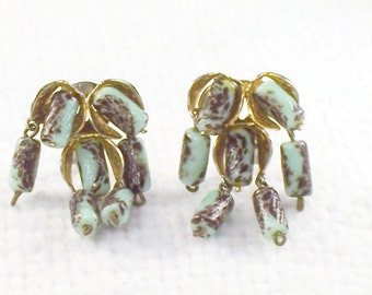 Vintage 1920's French France Depose Dangle Glass Bead Earrings - Mint and Chocolate Beads Art Deco Glass Bead Earrings