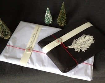 Gift wrapping for Brill and Ben upcycled linens