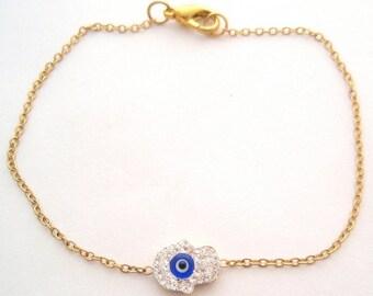 Evil Eye Bracelet, Hamsa Bracelet, Gold Evil Eye Bracelet, Gold Hamsa Evil Eye Bracelet, Lucky Charm Bracelet, Protection Bracelet