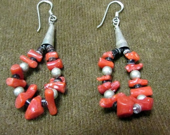 Sterling Silver and Coral Strung Dangle Loop Earrings on Wires Bohemian Look