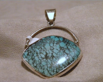 Large Sterling Silver Turquoise Pendant