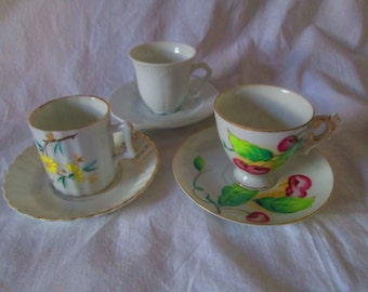 Vintage lot of 3 demitasse cups and saucers fine bone china
