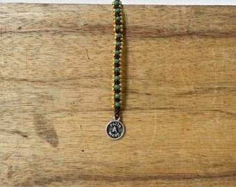 Czech crystal Gilt Balls and green Shamballa bracelet