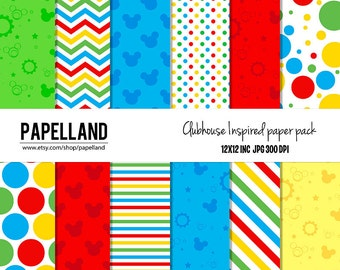 Clubhouse inspired digital paper pack   for scrapbooking,Making Cards, Tags and Invitations / Instant Download
