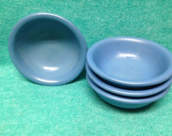 Catalina Island California Pottery Set of 4 Matte Blue Bowls Brown Clay