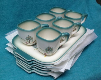 Brock Pottery Forever Yours Snack Trays With Cups Set of 6