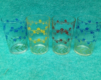 Swanky Swig Juice Glass Set of 4 Forget-Me-Not Yellow Red 2 Blue