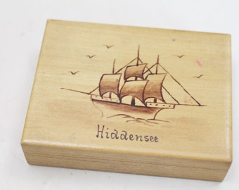 vintage wooden box Baltic sea Hiddensee sailboat jewelry