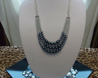 Beautiful Tri-Color Pearl Necklace