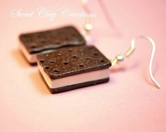 Ice Cream Sandwich Earrings Miniature Food Jewelry Polymer Clay Food Handmade Gift Girl Brown White Sterling Silver