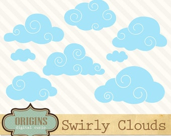 70% OFF Swirly Clouds Clipart Set - PNG and Vector weather sky baby shower Clip art, instant download commercial use