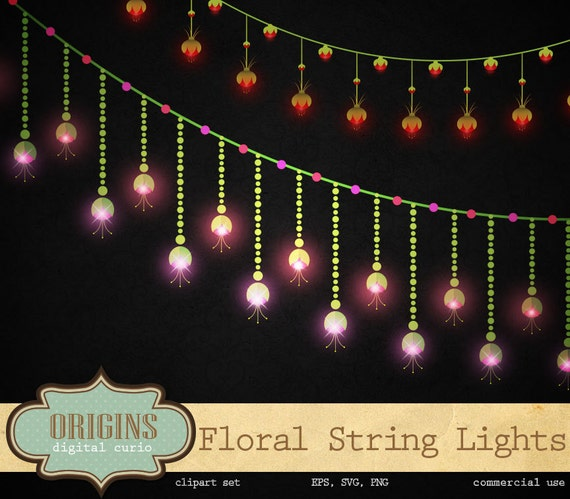 Floral String Lights Clipart, wedding string lights, fairy lights, digital valentine save the ...