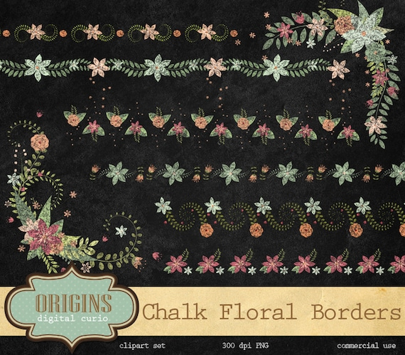 Flower Wall Decor Reversible Mosaic With Chalkboard: 70% OFF Chalk Floral Borders And Corners Clip Art