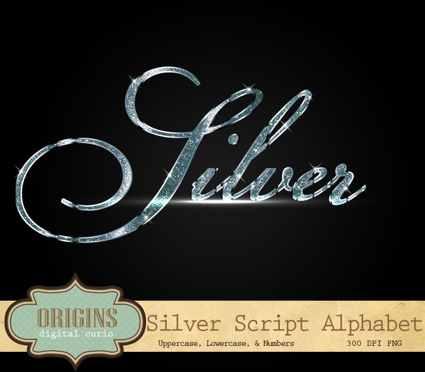 Sparkling Silver Alphabets: Diamond Bling Alphabet Letters And Numbers Script Clip