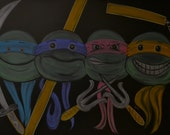 Ninja dudes done in colored chalk