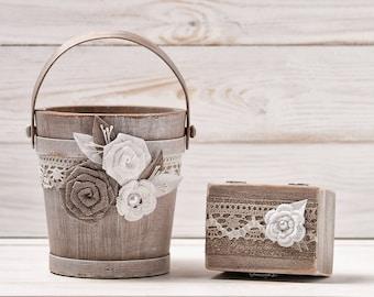 Flower Girl Basket Bucket and Ring Box Bearer Pillow Set Rustic Wedding Set Rose Flower Girl Shabby Chic Burlap and Lace
