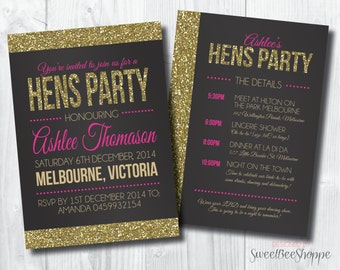 Hens Party Invite, Hens Night Party Invite, Glitter Hen Party Invitation, Glitter Invitation (Customizable & Printable)