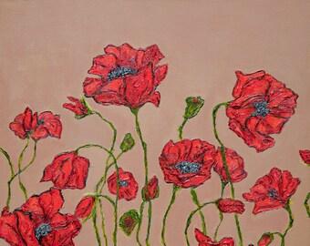 Playful Poppies (Original Oil Painting 16 x 20)