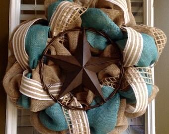 Burlap Wreath - Rustic Star Decor - Everyday Wreath - Fall Wreath - Summer Wreath - Spring Wreath - Summer Wreath for Door - Front Door Wrea