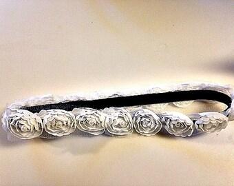 Elegant White beaded flower headband