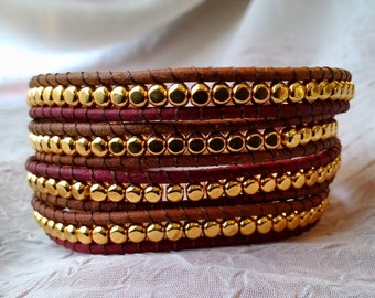 Leather Wrap Bracelet - Gold Plated Beads! Gypsy Wrap Bracelet, Boho Wrap Bracelet