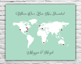Military Family Gift - Military Spouse - Duty Locations - Where We've Lived, Personalized Family Gift, Navy, Army, Marine Corps, Air Force