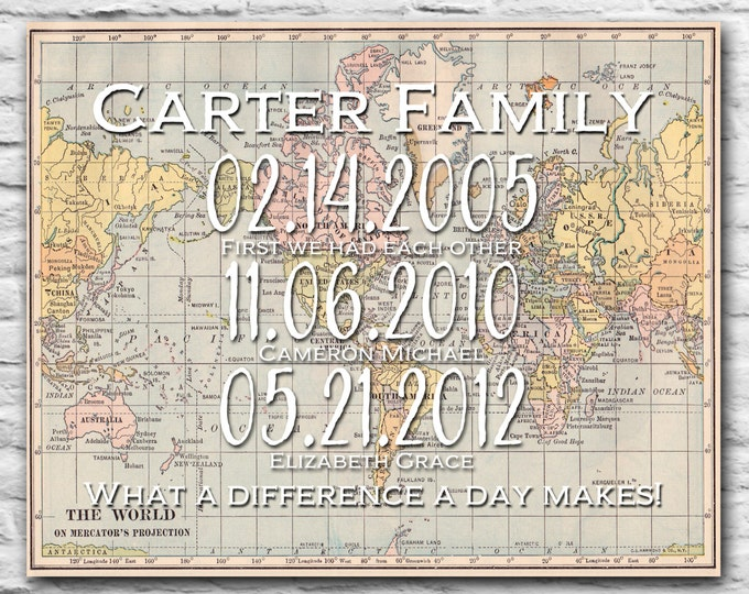 Couple Important Dates Christmas Gift Ideas What A Difference A Day Can Make Personalized Christmas Gift Family Dates Print World Map 8x10