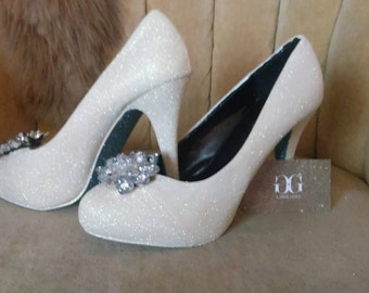 Cinderella heels sizes 5.5-11 made to order. Cinderella's glass slipper.  short heels. Tall heels
