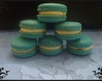 T inspired color blue Macarons with buttercream or ganache Macaroons French Macarons  12 pc