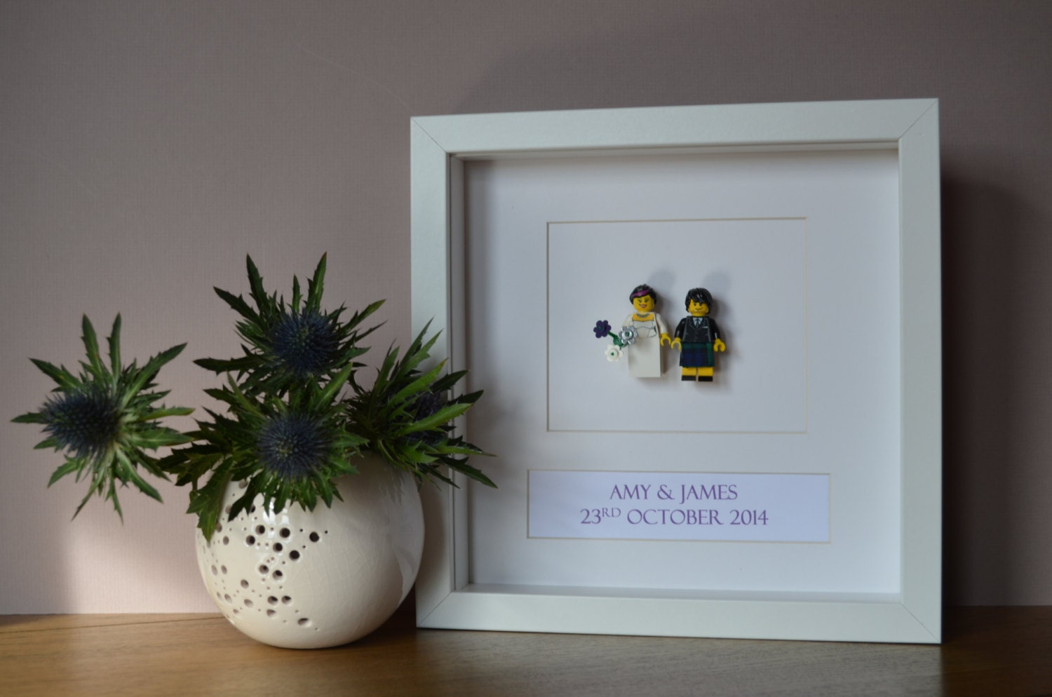 Scottish Wedding Gift For Bride : Personalised Framed Scottish Lego Wedding Gift made by FankleFox