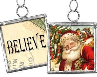 "Reversible Framed Ornament / Charm #29 -- Embellishment -  "" BELIEVE "" - Santa"