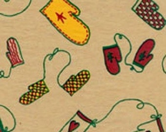 Mittens, Mittens - Primitive Christmas Tissue Paper # 825 / Gift Wrap on Kraft Tan