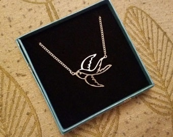 Swallow Silhouette Pendant Necklace