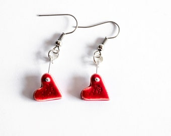 Red Tiny Heart Porcelain Earrings - Clay - Porcelain Jewellery - Ceramics and Pottery