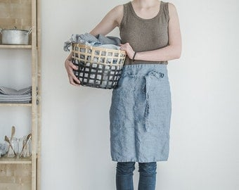 Linen apron. Washed swedish blue, natural, eco - friendly, handmade half linen apron.