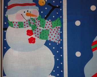 Jolly Frosty Christmas Snowman Fabric Door Panel Patty Reed Cotton Quilting