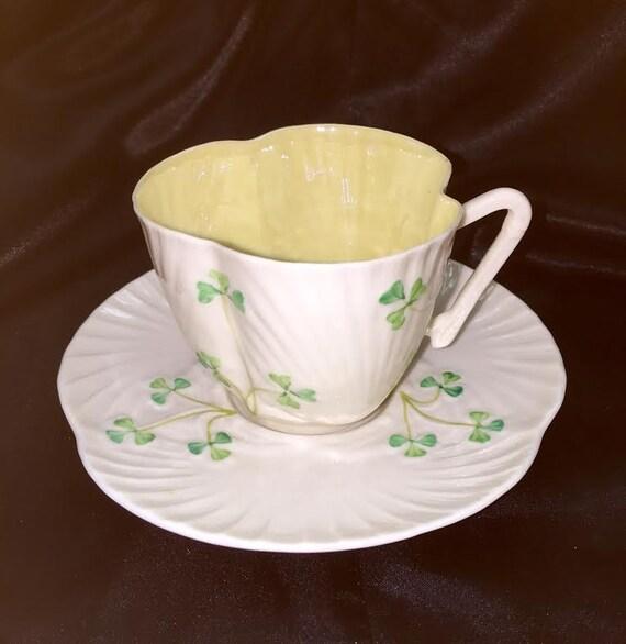 Belleek Ireland Shamrock Clover Porcelain Tea Cup Saucer