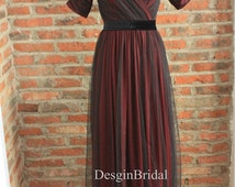 1950s Prom Dress,Vintage Ball Gown,Tulle Long Prom Dress,Open V Neck Fairy Dress,Retro Unique Party Dress,Ruched Flowy Dress-Black Belt