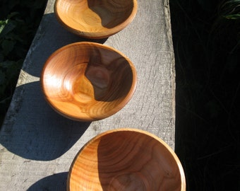 Wooden bowls, turned on a pole lathe