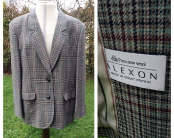 Vintage Jacket Blazer Checked Plaid Lambswool Country Equestrian Boyfriend Style Heritage 16-18 UK Made In Great Britain By Alexon c1980s