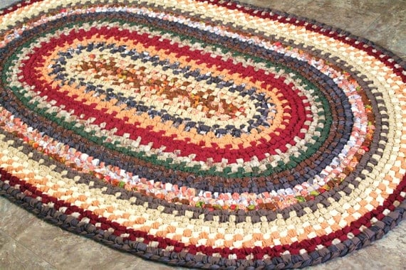 Large Oval Swedish Braided Rag Rug In Fall Colors By