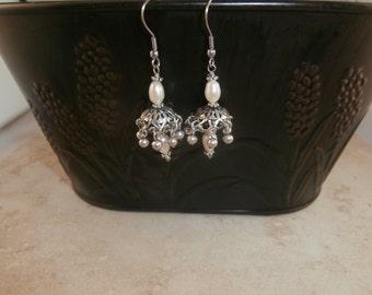 Ethnic Pearl Chandelier Earrings