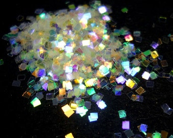 Rainbow Iridescent Solvent Resistant Glitter .040 Square, Cosmetic Grade Nail Glitter, Indie Nail Glitter