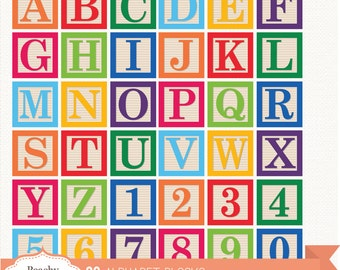 BUY 2 GET 1 FREE 36 Digital Alphabet Blocks Clipart / Baby block Alphabet Clip Art / digital alphabet - commercial use ok