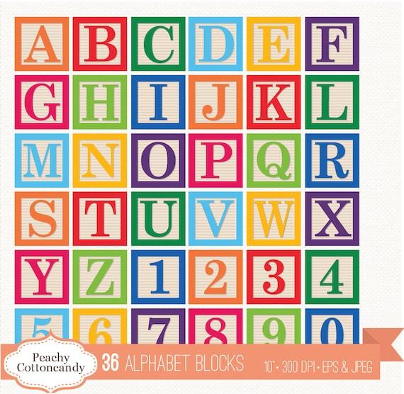 BUY 2 GET 1 FREE 36 Digital Alphabet Blocks Clipart / Baby